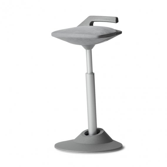 fully muvman sit stand stool by aeris gray microfiber with silver base