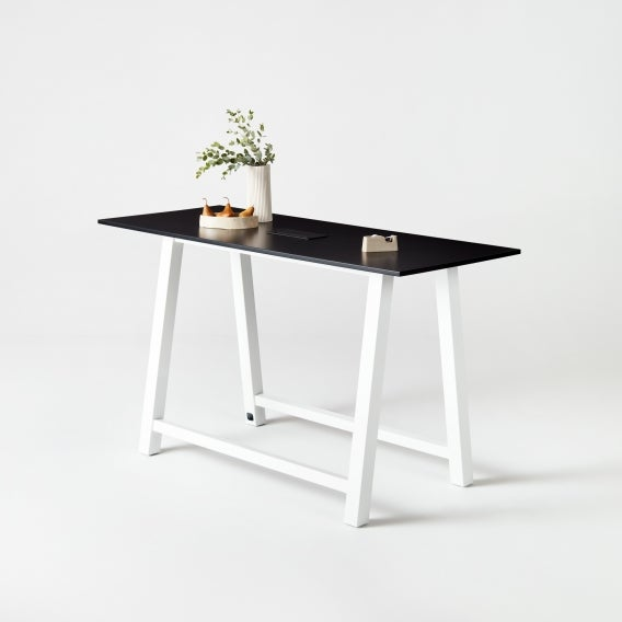 fully colbe breakout table black laminate white frame