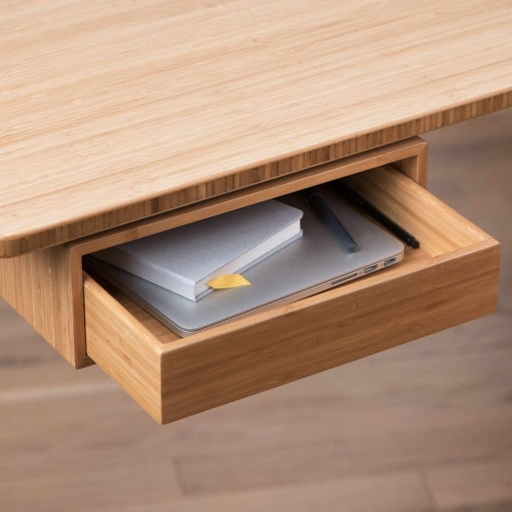 fully jarvis bamboo desk drawer mounted to jarvis desk open with laptop inside detail view