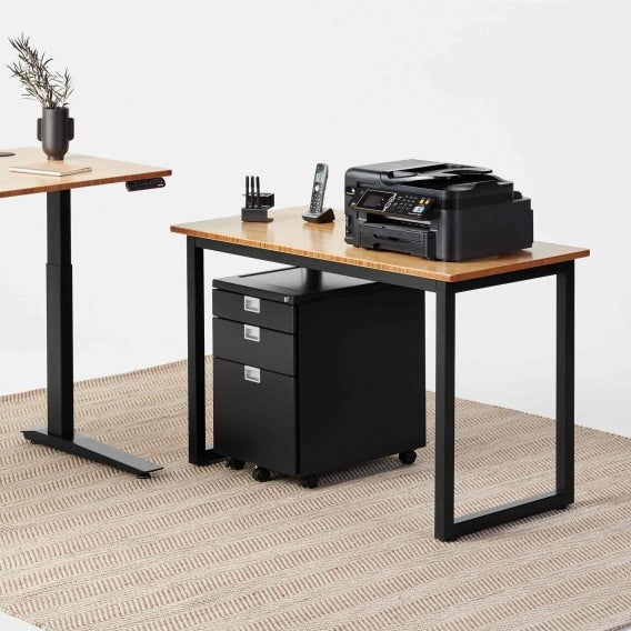 fully jarvis bamboo side table with printer and sidekick black