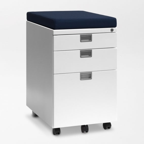 fully sidekick file cabinet white with sapphire cushion