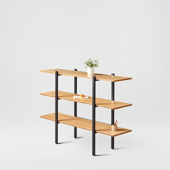 fully colbe shelving unit bamboo black frame short