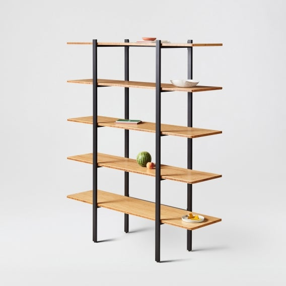 fully colbe shelving unit bamboo black frame tall