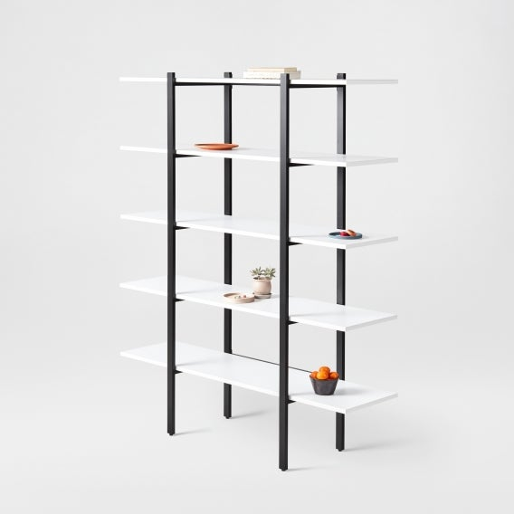 fully colbe shelving unit white laminate black frame tall