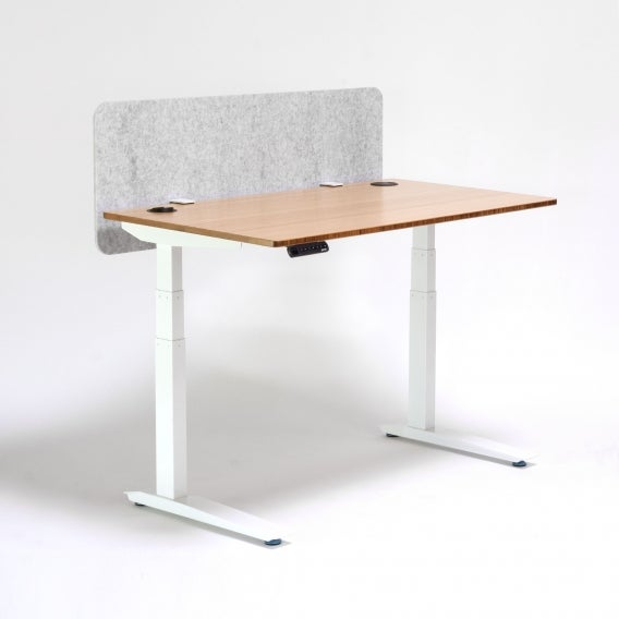 fully field privacy panel sound dampening modesty screen heather gray modesty panel on jarvis desk front view