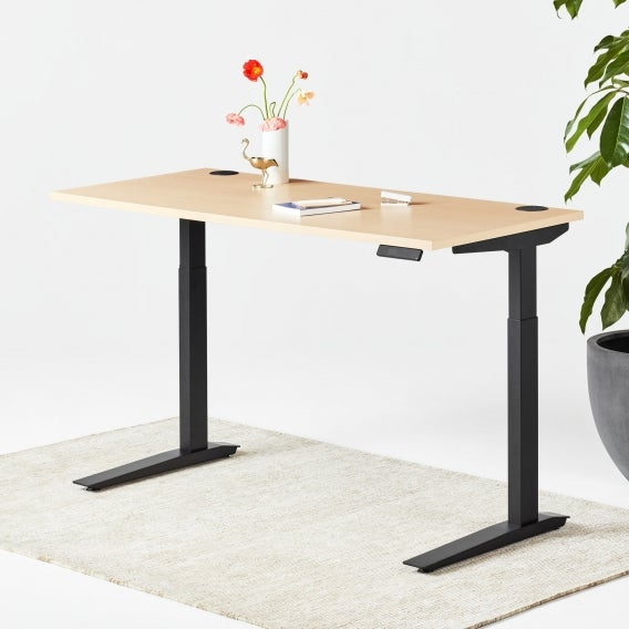 fully jarvis laminate standing desk maple black frame