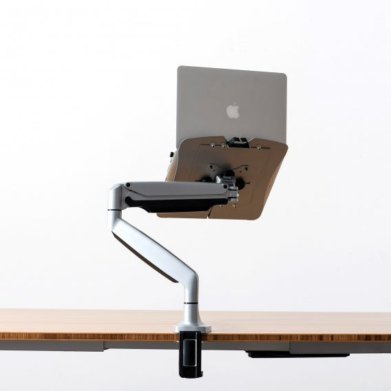 fully jarvis laptop arm mounted on jarvis desk silver