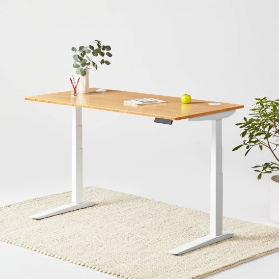 Jarvis Bamboo standing desk with white frame