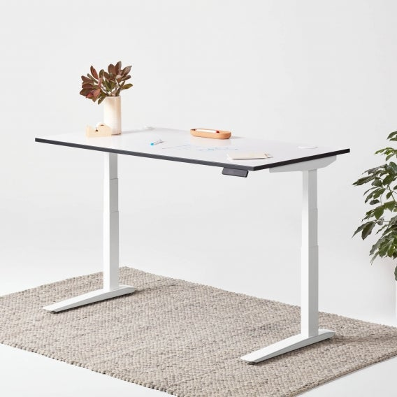 fully jarvis whiteboard standing desk with white legs
