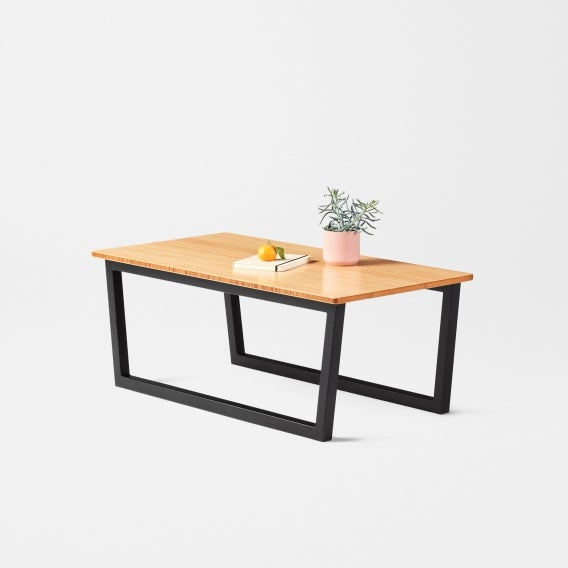 fully mari coffee table bamboo black frame