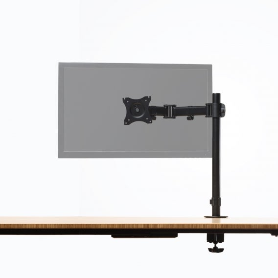 fully pole mounted monitor arm mounted to jarvis desk with transparent monitors 1 monitor