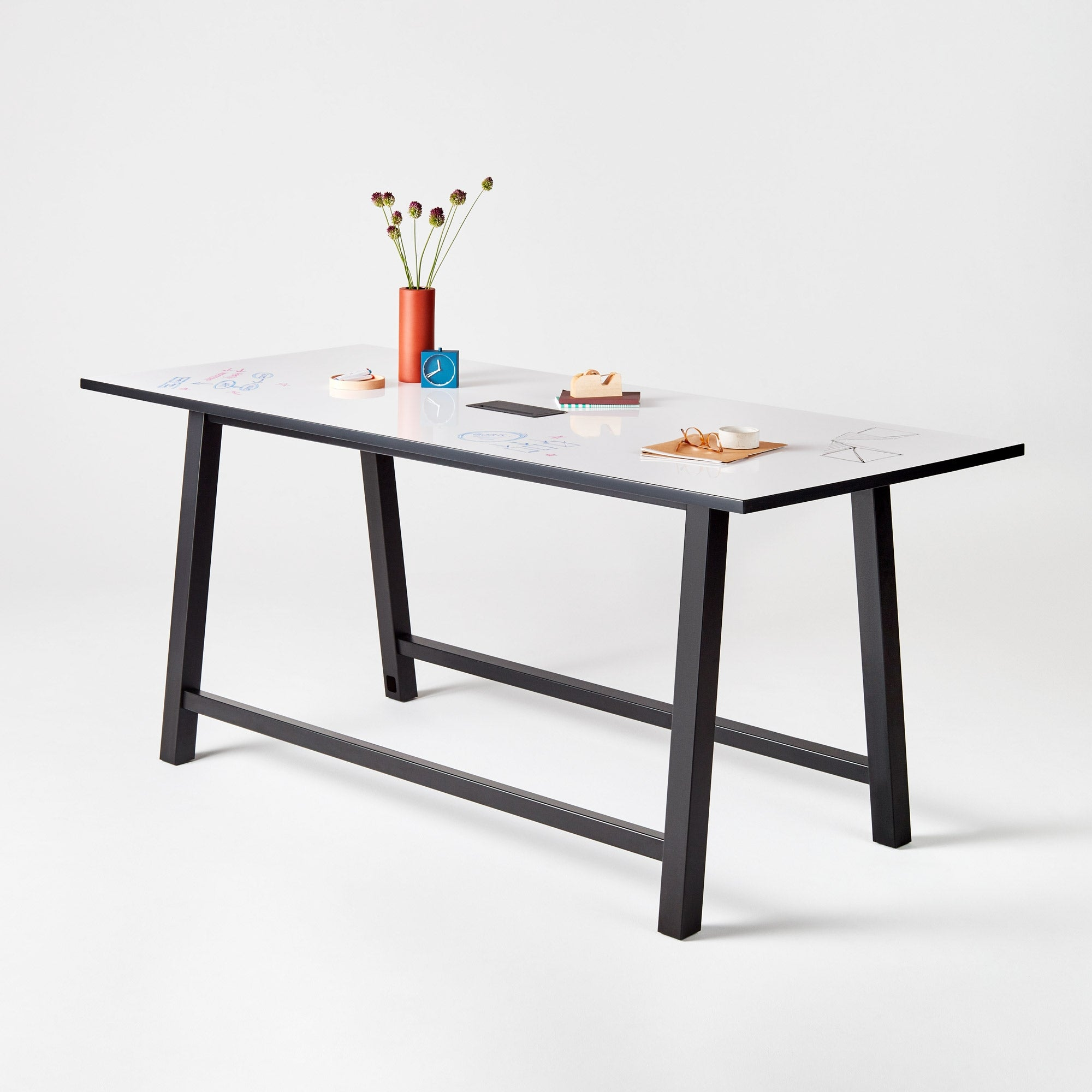 Colbe Whiteboard Standing-Height Conference Table
