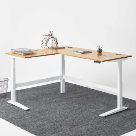 jarvis l-shaped standing desk bamboo white frame