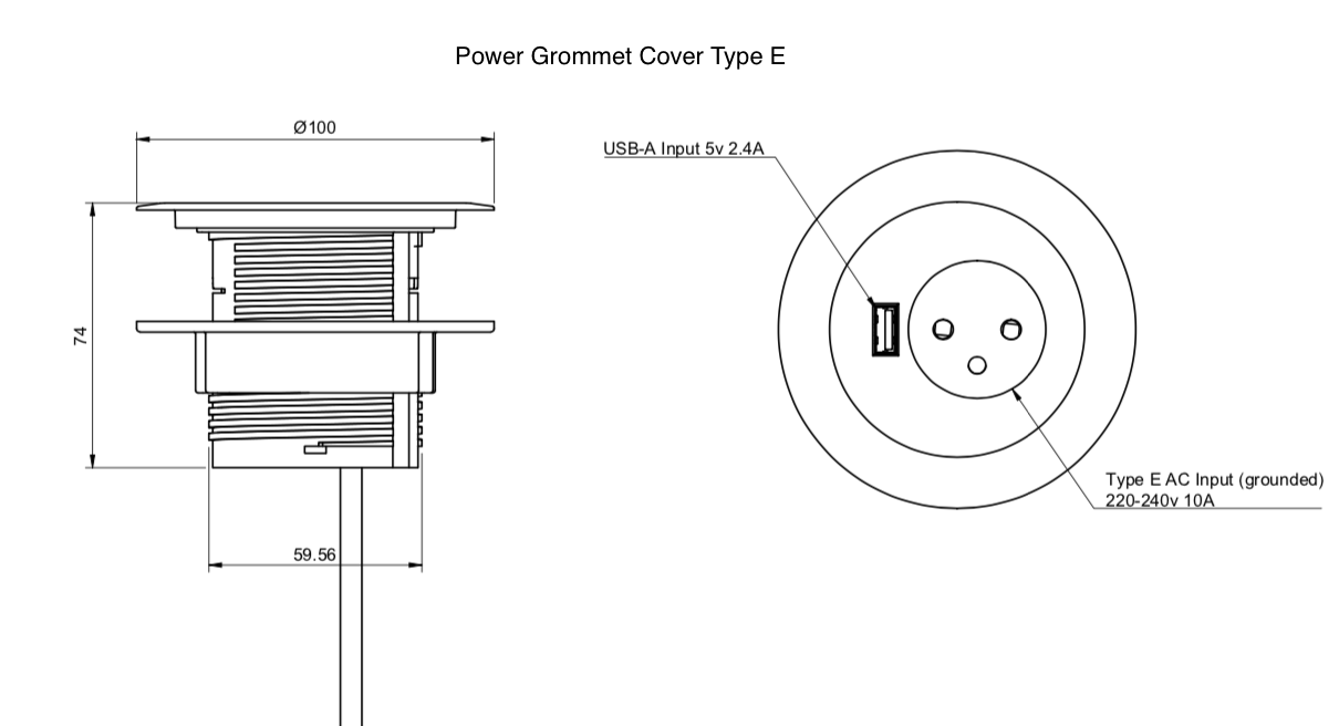 power grommet cover type E dimensions