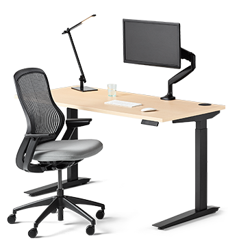 jarvis desk, regeneration chair, monitor arm, and beam lamp