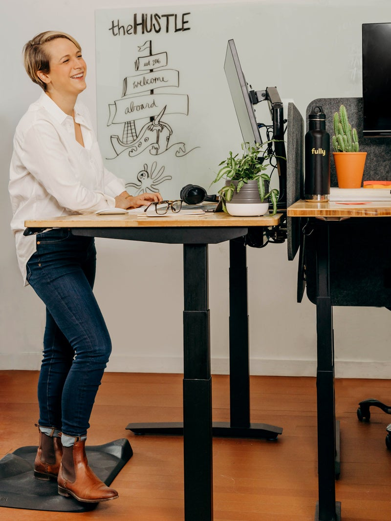 Working while standing at a Jarvis Bamboo standing desk
