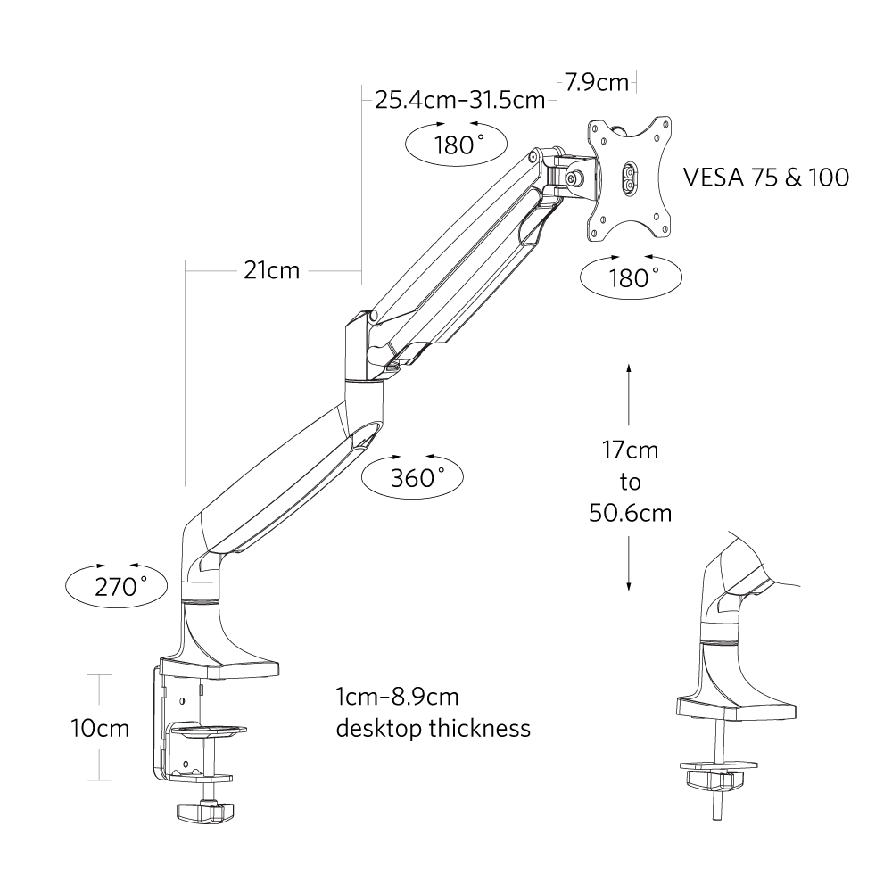 fully jarvis monitor arm dimensions