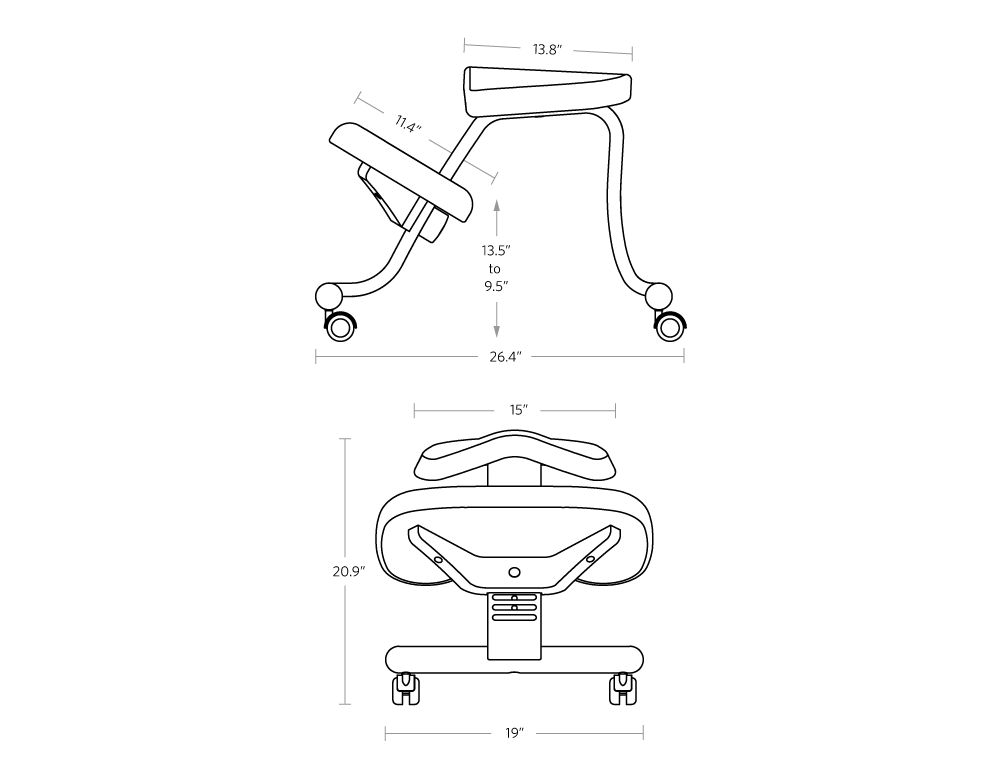 fully balans kneeling chair without back dimensions