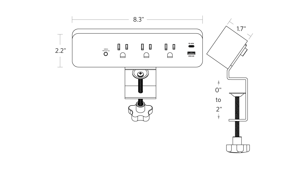 fully clamp mounted surge protector dimensions