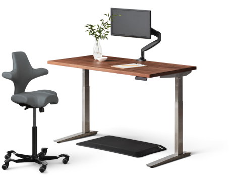 jarvis hardwood standing desk walnut top black frame, with Jarvis Monitor Arm, Muvmat, and Capisco Chair by HAG