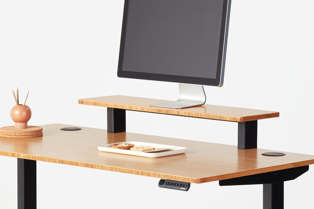 fully jarvis bamboo desk shelf mounted on jarvis