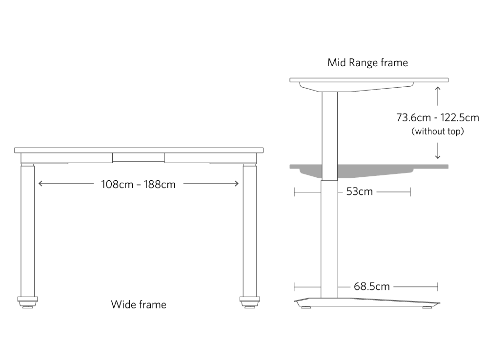 Metric dimensions of the jarvis mid range frame for frame only adjustable standing desk