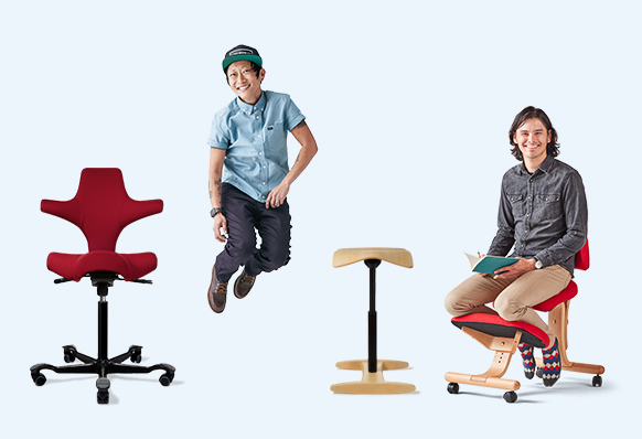 Capisco chair by HAG red upholstery black base, person jumping, tic toc chair, person sitting in a balans chair