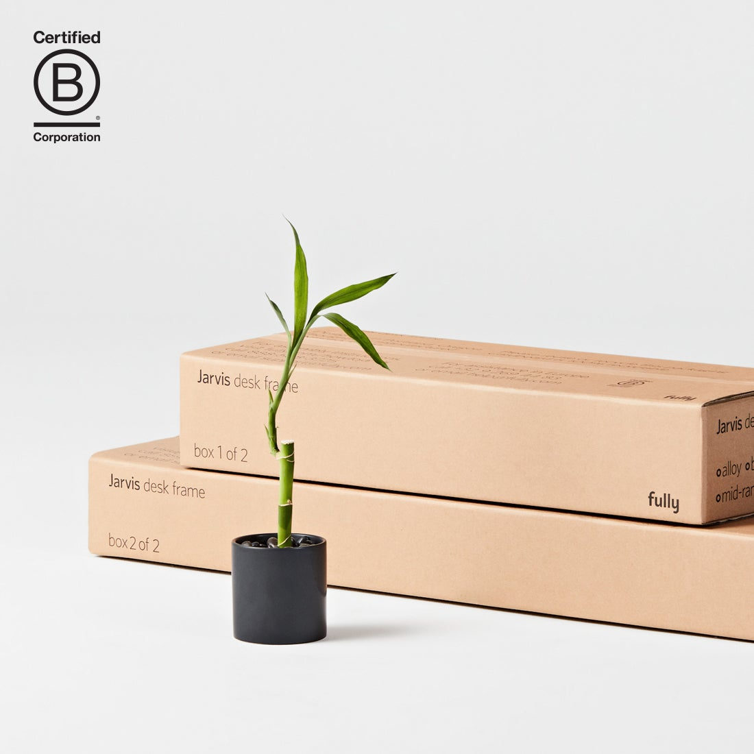 Fully B Corp certified and Jarvis standing desk boxes