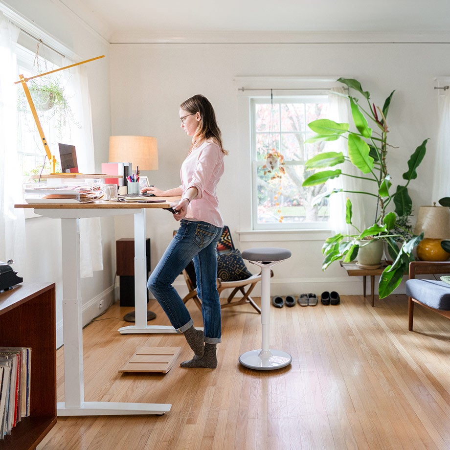 home office jarvis bamboo standing desk beam lamp tic toc balance board and luna