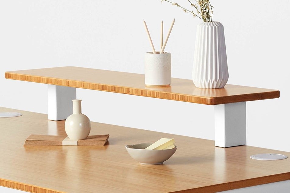 Jarvis Desk Shelf in Bamboo with matching Bamboo top