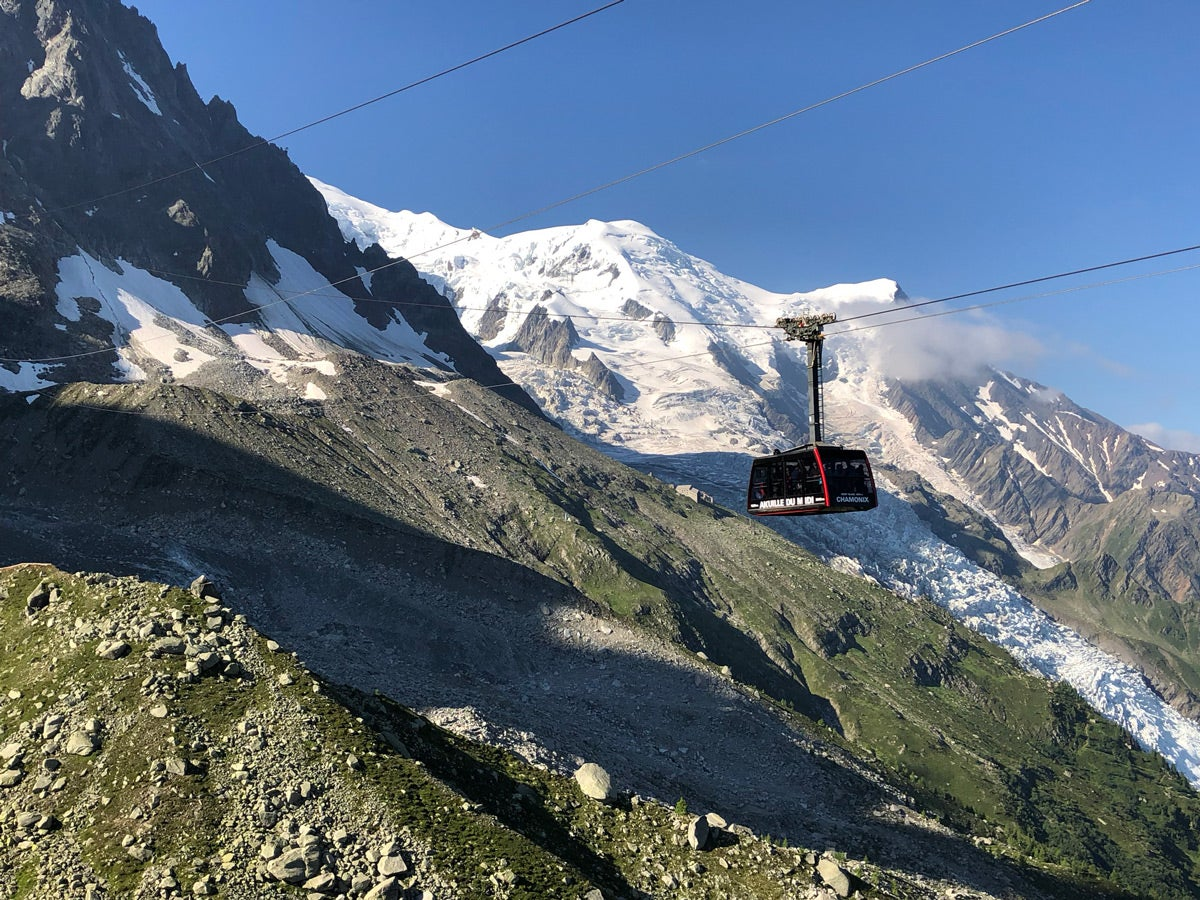 Cable car trip up Aiguille du Midi to summit of Mont Blanc
