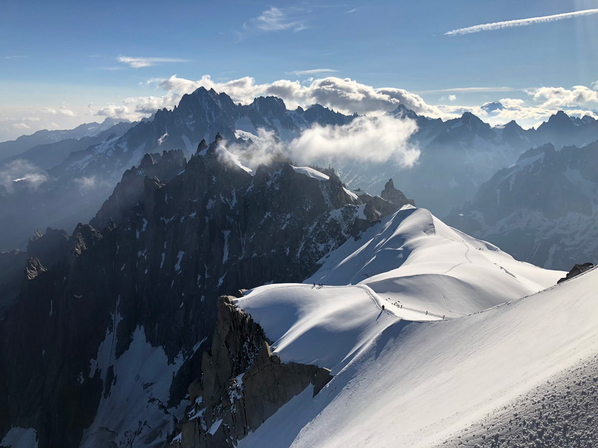 View from the summit of Mont Blanc taken by Chad Stashek during his alpine run