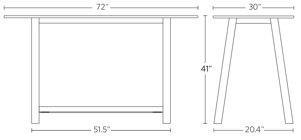 Colbe Laminate Breakout Table Frame Dimensions