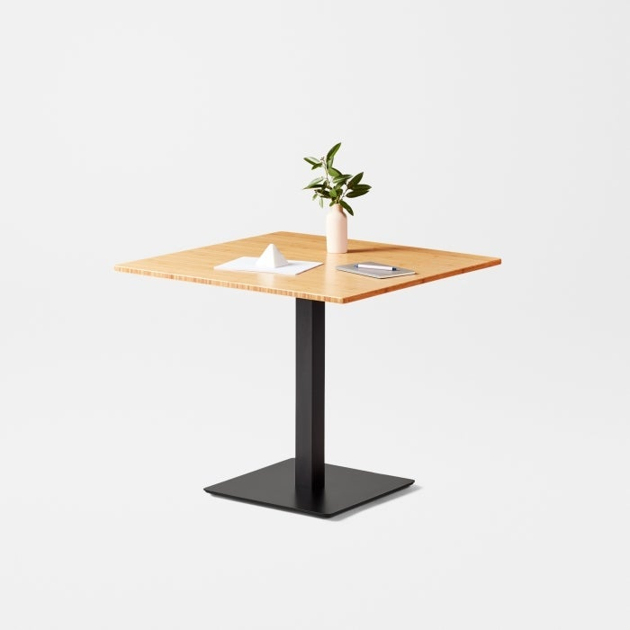 colbe seated pub table bamboo top with black frame