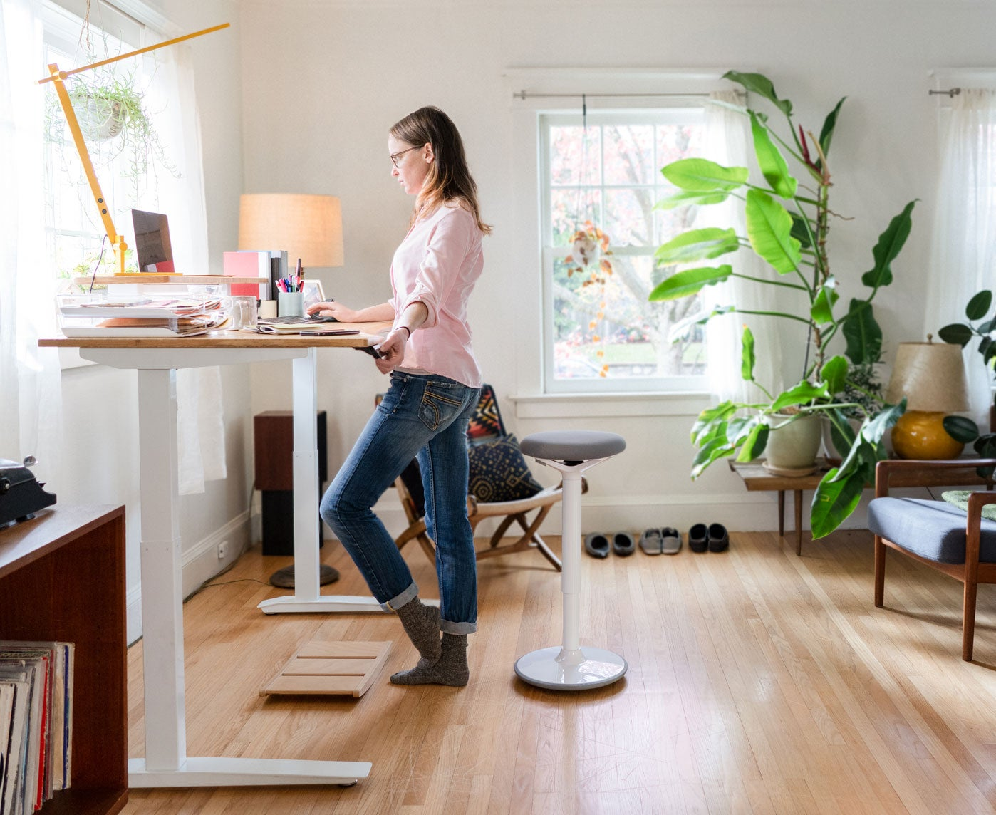Jarvis standing desk home office with Luna stool and Beam lamp