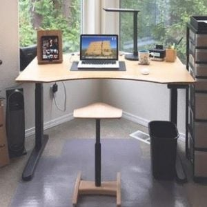 Jarvis contour standing desk with a tic toc chair in a home office
