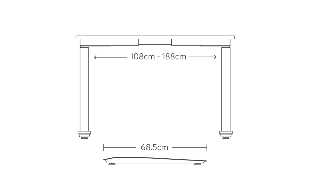 Metric dimensions of the jarvis extended range frame for bamboo adjustable standing desk