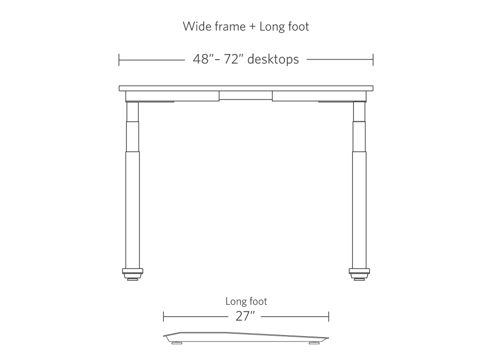 """Specifications image - wide frame (48""""-72"""" desktops) with long foot foot (27"""")"""
