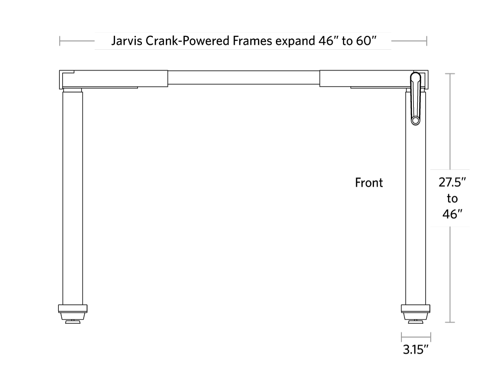fully jarvis crank powered standing desk dimensions front view