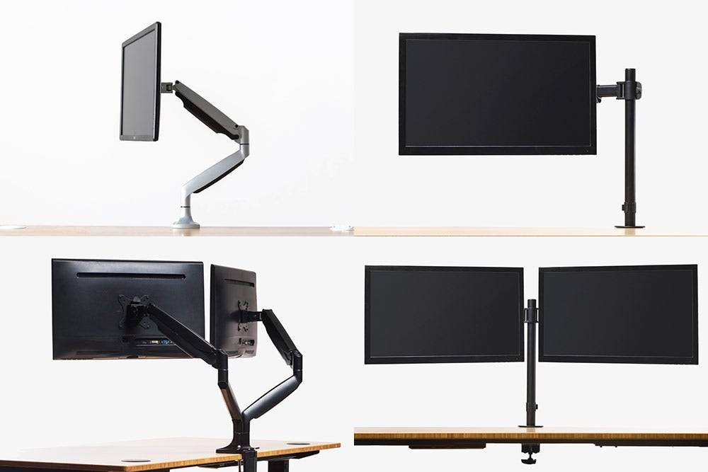 fully jarvis monitor arms and pole mounts with monitors