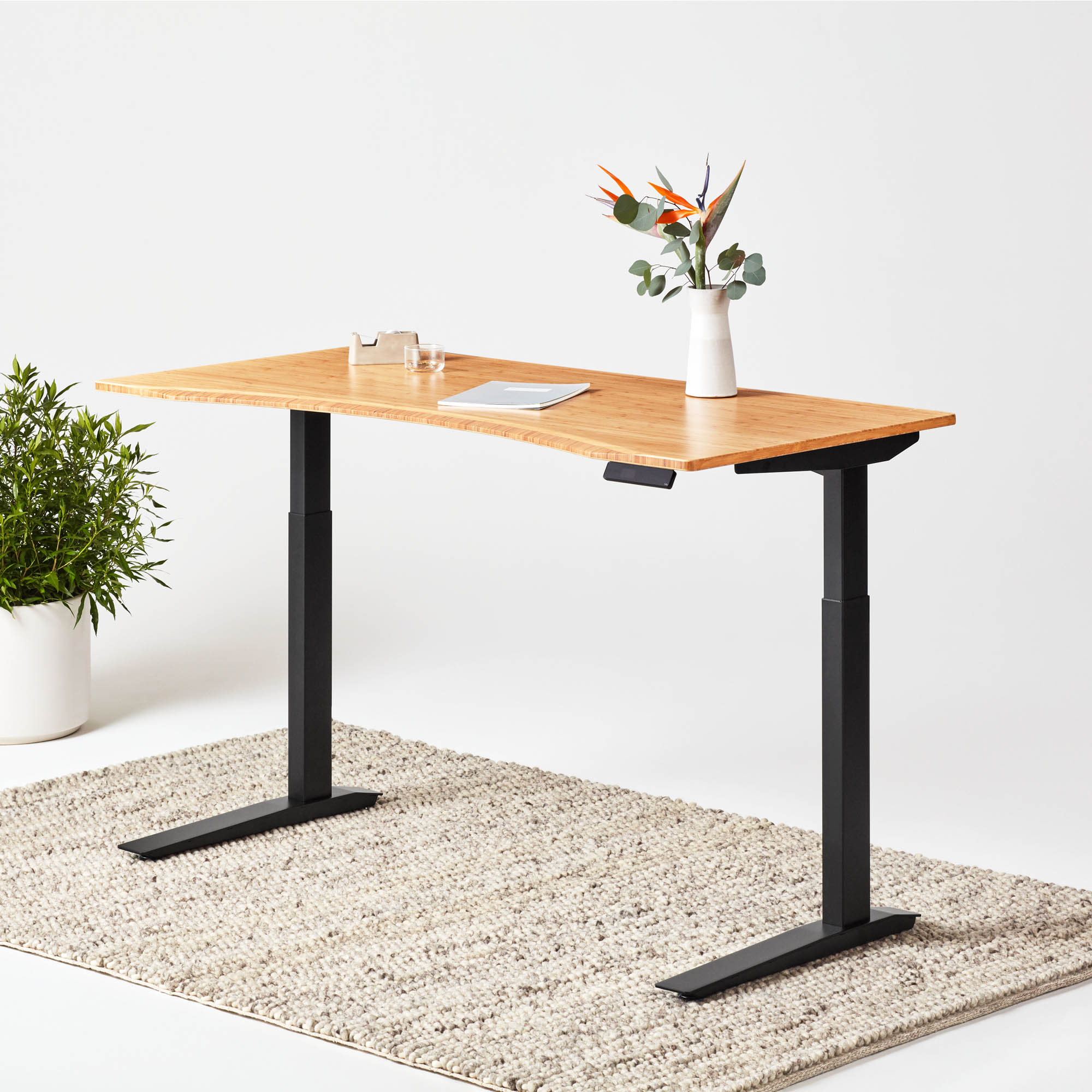 Jarvis Bamboo Contour Standing Desk with black frame