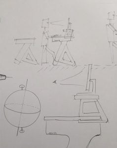 Initial sketch of Jaswig standing desk