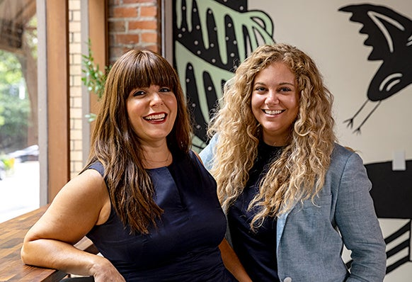 """Mariah Lincoln and Catherine Bye owners of Knack Collective. Link to """"The Knack Coworking + Fully"""" article."""