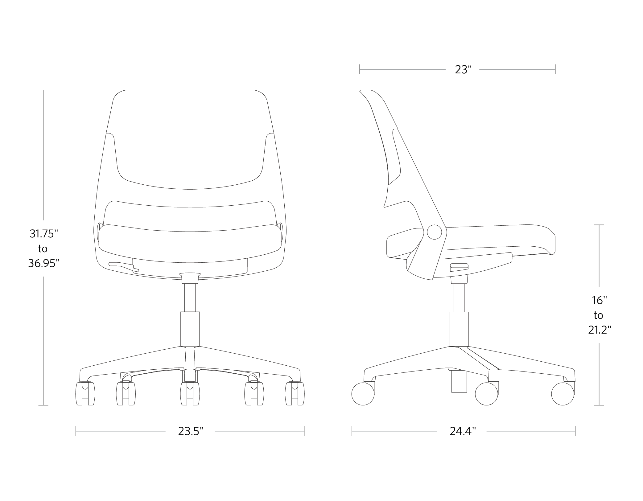 fully knoll ollo chair dimensions