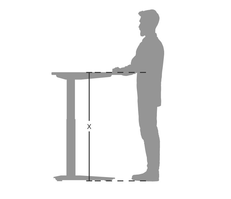 person standing at standing desk