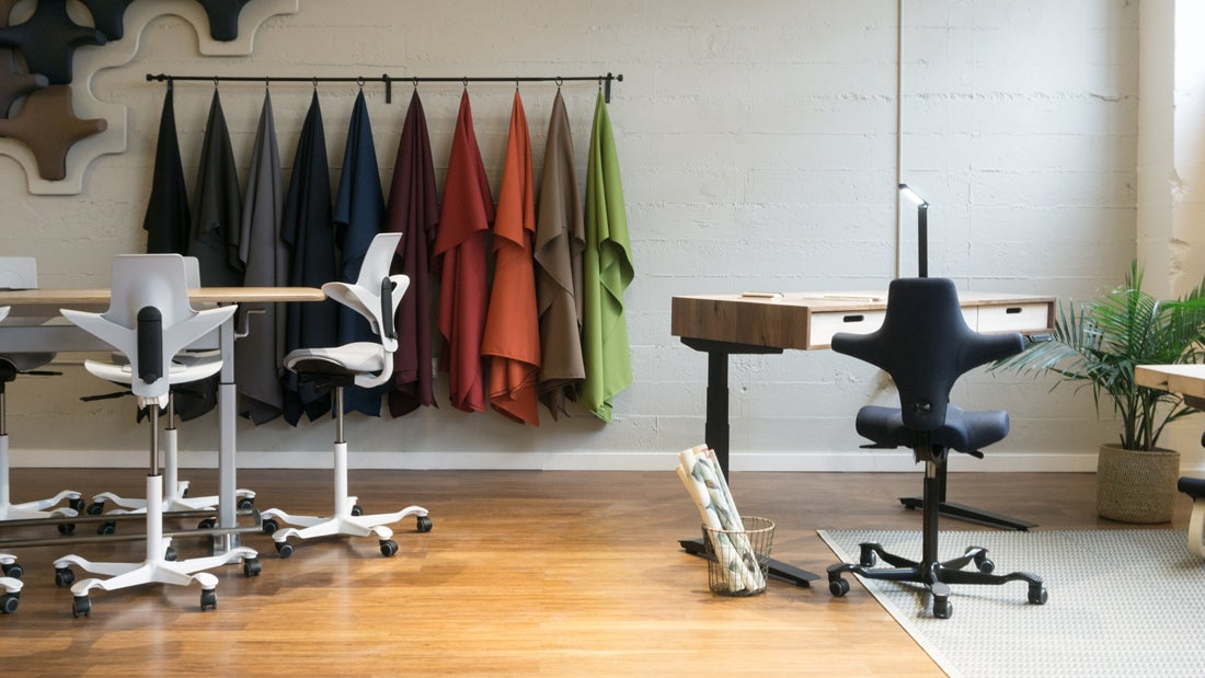 Fully Portland Showroom Jarvis Standing Desks and Capisco Chairs