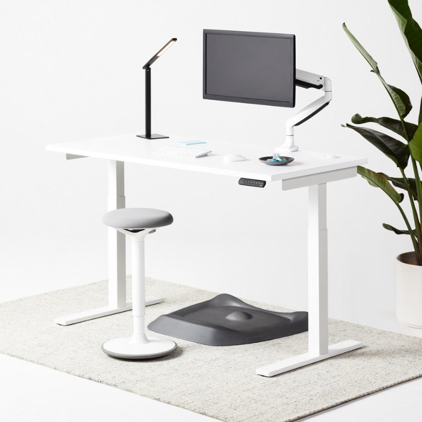 Remi Standing Desk white laminate top white frame with Luna stool and Aleris lamp