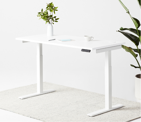 fully remi standing desk white frame white laminate top
