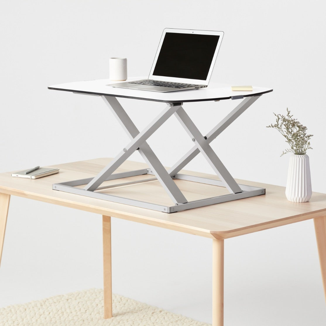 Fully Cora standing desk converter in white