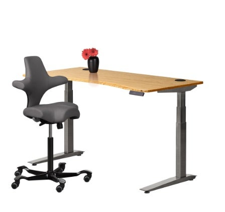 fully jarvis bamboo contour standing desk alloy frame with dark grey capisco chair